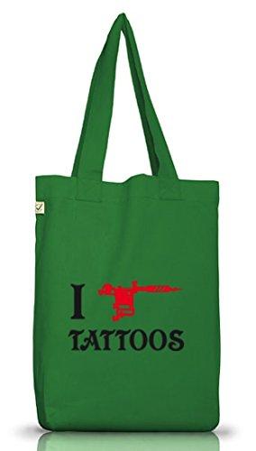 Shirtstreet24, I LOVE TATTOOS 2, Tätowierung Tätowierer Jutebeutel Stoff Tasche Earth Positive Moss Green