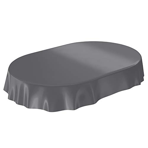 ANRO Wachstuchtischdecke Wachstuch abwaschbare Tischdecke Uni Glanz Einfarbig Anthrazit Oval...