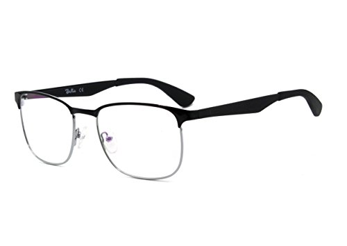 Men metal eyeglasses with clear lens (Schwarz)