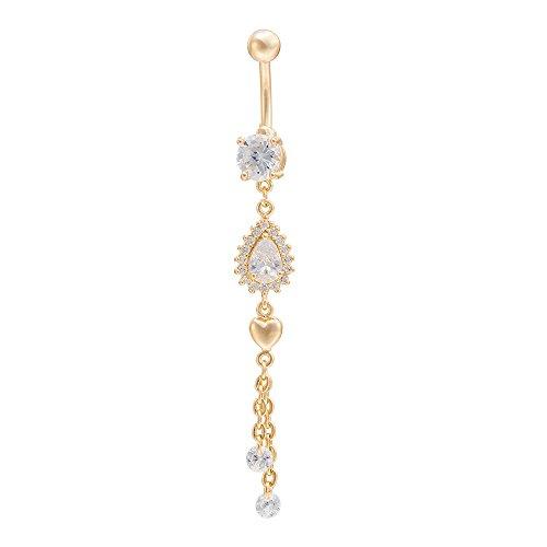 FushoP Chirurgische Stahl Teardrop baumeln Nabel Piercing Bauchnabel Ring mit Zirkonia (Vergoldet)