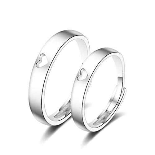 KnSam Ring Edelstahl Damen Ehering Damen Hohl Herz Verstellbar Ring Silber -