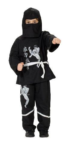 Rubie's 1 2131 152 - Ninja Kostüm, Größe 152, 3-teilig, schwarz (Haloween Kostüm Für Jungs)