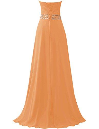 JAEDEN Donne Senza spalline Abiti da ballo lungo Chiffon Vestito da sera Abiti da damigella Arancione