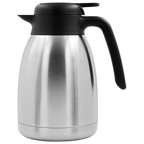 TRINKBASIS Isolierkanne 1,5 l - Thermoskanne aus doppelwandigem Edelstahl für bis zu 10 Tassen Kaffee oder Tee