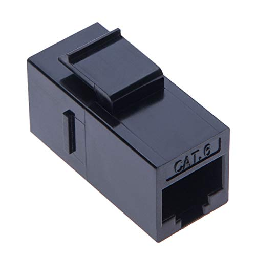 RJ45 Kupplung von Keple | RJ 45 Buchse LAN Verbindung | Kabel Adapter für STP CAT6, CAT5, CAT5e Ethernet LAN Patch Netzwerkkabel Verlängerung & Keystone Wand Frontplatte | Schwarz -