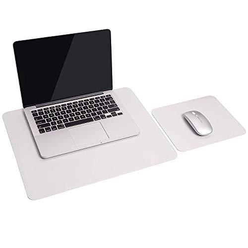 2 Set Pads, 1 Laptop Schreibtisch Unterlage + 1 Mauspad, Wasserdichte Unterlage aus PU-Leder, Schreibtischunterlagen mit Doppeltem Verwendungszweck für Büro/Zuhause (Silber) Wasserdichtes Leder