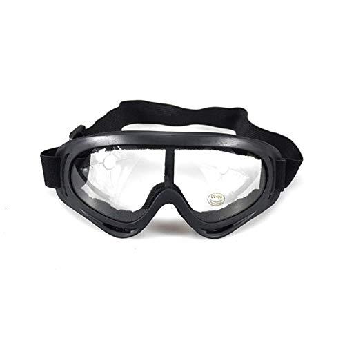 Motorradbrille Ghost Racing Motorrad Retro Rennbrille Wind Staubdicht ATV Sonnenbrille Schwarzer Rahmen (Farbe : Clear)