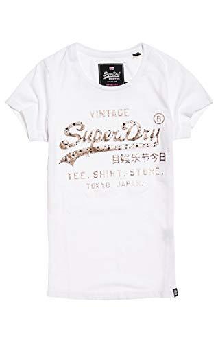 Superdry Damen Pullunder Shirt Shop Infill Emboss Entry, Weiß (Optic 01C), Small (Herstellergröße: 10)