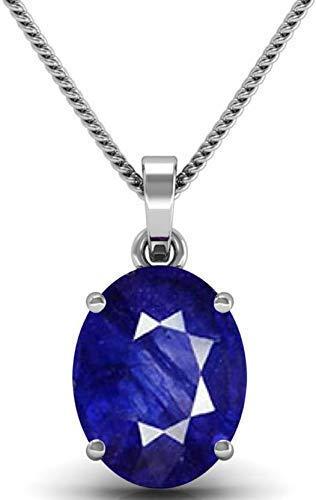 HARSHALI GEMS 5.0 Ratti Blue Sapphire Silver Locket (Nilam/Neelam Silver Pendant) Rashi Ratan Gemstone for Men & Women