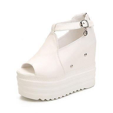 LvYuan Damen-Sandalen-Büro Kleid Lässig-PU-Keilabsatz-Club-Schuhe-Schwarz Weiß White