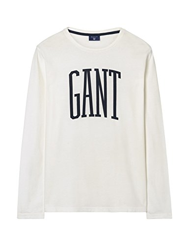 Gant Men's Men's Long Sleeve Burgundy T-Shirt With Logo 100% Cotton Weiß
