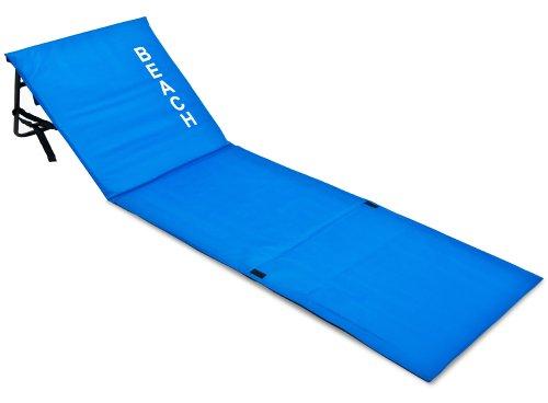Deuba Tumbona acolchada Azul con respaldo regulable y correa de transporte bolsillo...