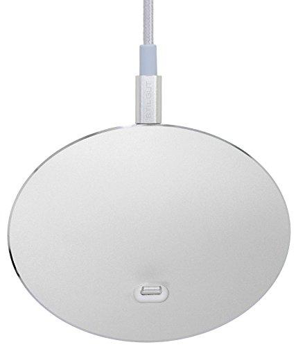 StilGut AirDock Oval - Edle Docking Ladestation iPhone und für Apple-Geräte mit Lightning-Anschluss. Design Docking-Station aus Aluminium für iPhone 8, iPhone 7, iPhone 6s, iPhone SE, Space Grey Silber
