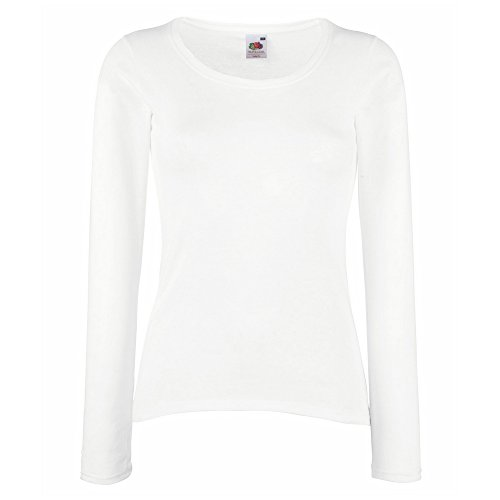 Fruit of the Loom Lady-fit valueweight long sleeve tee White 2XL (Sleeve College Tee Long)