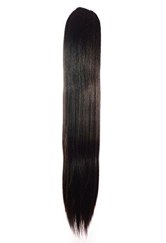 glatt brünett braun Pferdeschwanz mit Highlights Haarteil 53cm lang | Kordelzug und Kammaufsatz (90 Promi Kostüme)