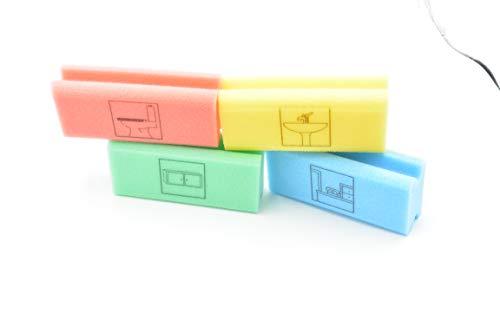 """Piktogramm Schwamm alle 4 je 1 x office Büro Schwamm = blau / toilet WC Toilette = rot / kitchen Küche = Grün / bathroom Bad Sanitär Schwamm = gelb Pad-Schwämme mit Griff \""""nicht kratzend\"""", mit Piktogrammen Pikto Schwamm Inkl. Probe Reiniger Kaiserrein"""