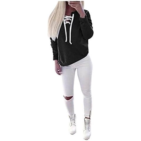 Blusas mujeres, Oyedens Las Mujeres Del Invierno Del Otoño De Manga Larga Sudadera Con Cordones Remata La Blusa Ocasional Divierte La Camiseta Negro