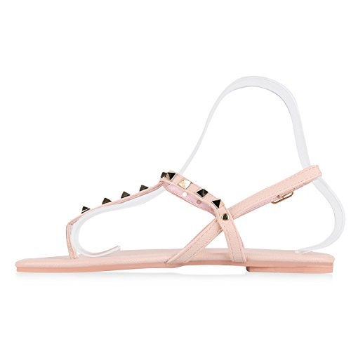 Damen Sandalen Zehentrenner Metallic Strass Flats Schuhe Rosa Nieten