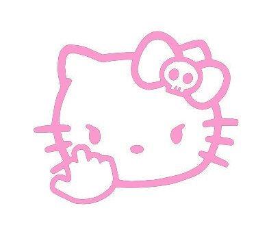 (SUPERSTICKI® Hello Kitty Middle Finger JDM Aufkleber Decal Hintergrund/Maße in inch Vinyl Sticker Cars Trucks Vans Walls Laptop  Pink  5.5 x 4.75 in CCI1573)