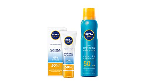 NIVEA SUN crema solar facial FP50  +  Protege & Refresca Spray Bruma Solar FP50