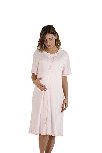 Premamy - camicia clinica per premaman, modello aperto davanti, cotone jersey, pre-post parto - rosa - vii (xxl)