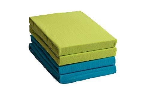 4er Pack Kinder Jersey Spannbetttuch Spannbettlaken 60x120 bis 70x140 cm 100% Baumwolle 2x Türkis 2x Apfelgrün für Kinder- und Babymatratzen