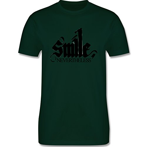 Statement Shirts - Lächle trotzdem - smile nevertheless - Herren Premium T-Shirt Dunkelgrün