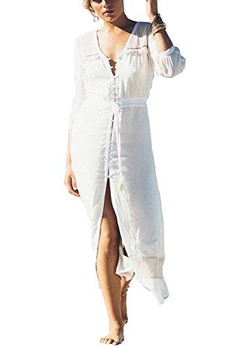 L-Peach Femme Eté Paréo Robe Longue de Plage pour Maillot de Bain Bikini Cover Up, Blanc avec Boutons, Taille unique