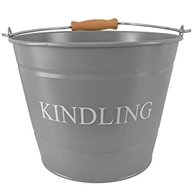 """Small Metal Fireside Kindling Bucket with Wooden Handle - Diameter of 23cm (9"""") - Grey Finish"""