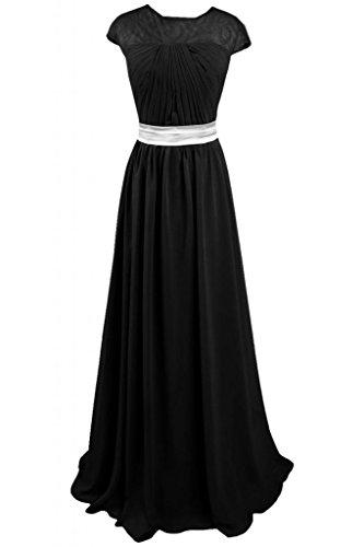 Sunvary donna semplice, satinato, lunghezza vestito da sera, per la festa della mamma Nero