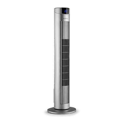 Klarstein Skyscraper 2G Turmventilator Standventilator Säulenventilator (Abschalt-Timer, platzsparend, 3 Geschwindigkeitsstufen, 40 Watt, Oszillation, 22,5 cm Ø, inkl. Fernbedienung) silber -