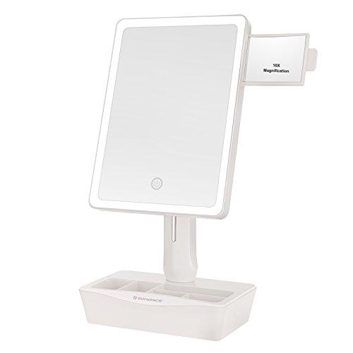 Songmics groß Kosmetikspiegel beleuchtet mit LED-Beleuchtung Schminkspiegel 180° drehbar regulierbar Touch-Schalter mit 10x Vergrößerung, Tischspiegel weiß, Perfektes Geschenk für Frauen BBM102