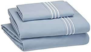 AmazonBasics Embroidered Hotel Stitch Sheet Set - Premium, Soft, Easy-Wash Microfiber - Twin, Dusty Blue - with pillow cover