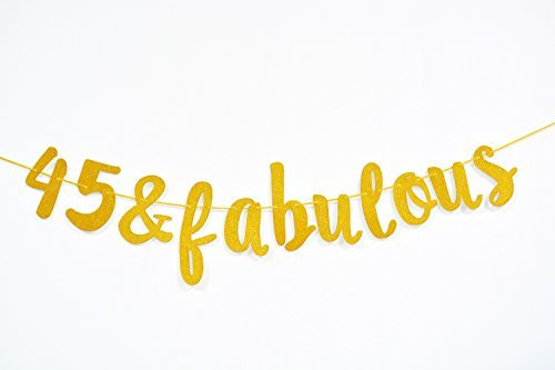 Firefairy 45 & Fabulous Cursive Spruchband zum 45. Geburtstag, Partyzubehör, Ideen und Dekorationen, goldfarben
