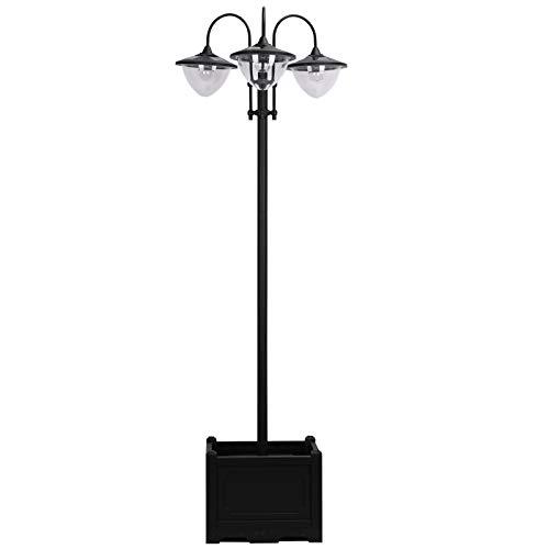 Outsunny Solarleuchte Gartenlicht 3-köpfige Lampe mit Blumentopf-Basis Wasserdicht Edelstahl 60 x 55 x 189 cm