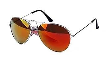 Lunettes de soleil Aviateur - Pilote - Fbi - Monture argent - Verre effet miroir essence - Fashion tendance