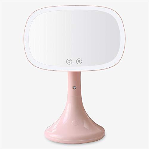 Induction LED lampe de table humidificateur miroir hydratant et hydratant lampe miroir cosmétique charge USB rotatif Nuit lumière cadeau fille,Pink