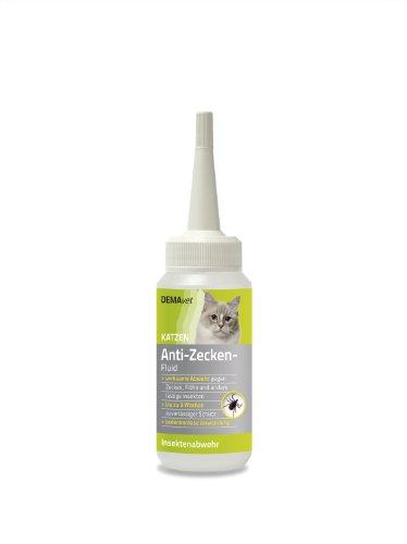 DEMAvet Anti-Zeckenfluid für Katzen - Hochwirksames Insektenschutzmittel - hält Zecken, Flöhe und andere Insekten fern.