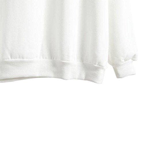 Meijunter Femme Manches longues Couleur unie col rond Veste Manteau chaud Sweat Blanc