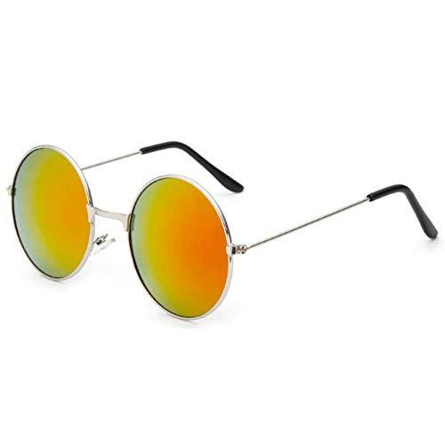 GAOHAITAO Fashion Round Metal Frame Sunglasses Men Women Prince Mirror Circle Round Sunglasses Muti-Colors Optional,Silver Red