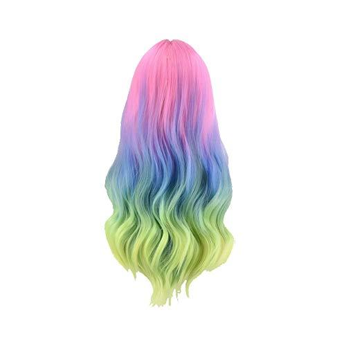 Lange Lockiges Geradee Perücke Buntes Regenbogen-perücken Synthetisches Haar Für Halloween-kostüm-party-thema Anime Cosplay (Anime Themen Kostüm)