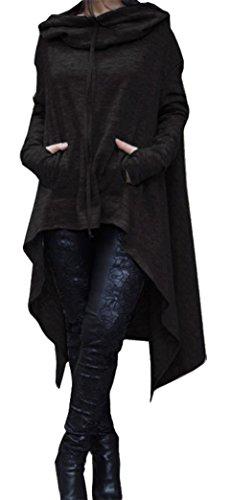 Yeesea Femme Hoodie Sweats à capuche Oversize Pullover Sweatshirts Irrégulier Haut Robe Manche longue Tunique Poncho Noir