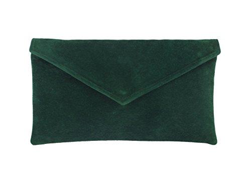 Loni Neat Umschlag Faux Wildleder Clutch Bag/Schultertasche in waldgrün dunkel grün (Designer-tasche Wildleder Grüne)