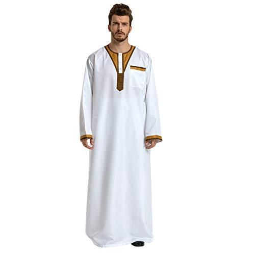 Kostüm Männer Muslim - TEBAISE Kostüm Langarm Stehkragen Muslimische Dubai Robe-Sätze Muslim Abaya Dubai Islamisch Arabisch Indien Türkisch Casual Festlich Kaftan Robe Kleid Maxikleid Herren Männer Kaftan im Saudi-Stil