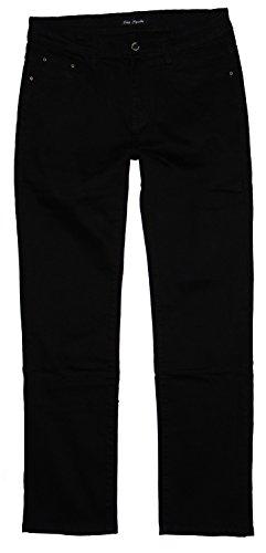 BigSpade Damen Basic Stretch Jeans Hose gerades Bein, schwarz (B6933), Gr.42 W33 (Bein Gerades Plus Size Jeans)
