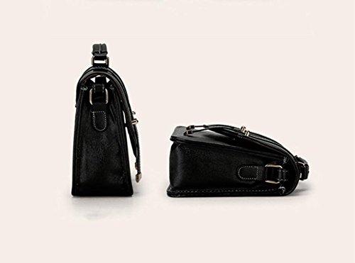 HQYSS Damen-handtaschen Leichte PU-lederne Schulter-Kurier-Handtasche Normallack-Frauen-Crossbody justierbare Einkaufstasche black