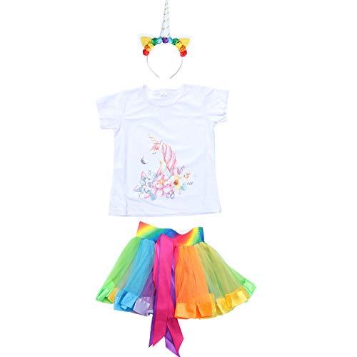 LIOOBO Einhorn Kostüm Set Einhorn T Shirt Regenbogen Tutu Rock Stirnband Kit für kleine Mädchen Abend Performance Party Decor (M)