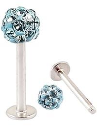 Piercing Labret Acier Boule Cristal Bleu Turquoise Recouverte de Résine - Barre 6mm (Courte)