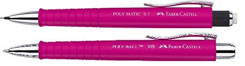 Faber-Castell SET Druckbleistift POLY MATIC und Kugelschreiber POLY BALL XB (Pink, Set)