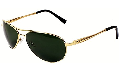 AISLIN® Non-Breakable Aviator Sunglasses For Men (G-15 Green Lens)(AS-3509DH-2-GLD)